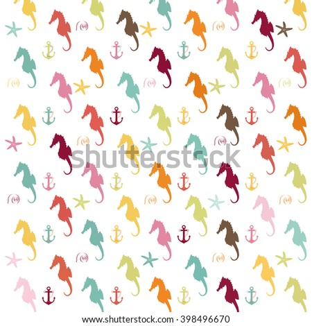 Illustration pattern of colorful seahorse silhouettes on a white background with anchors, and seashells./Seahorse Pattern