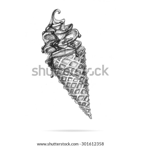 illustration pencil on a white background ice cream drizzled with chocolate wafer cone