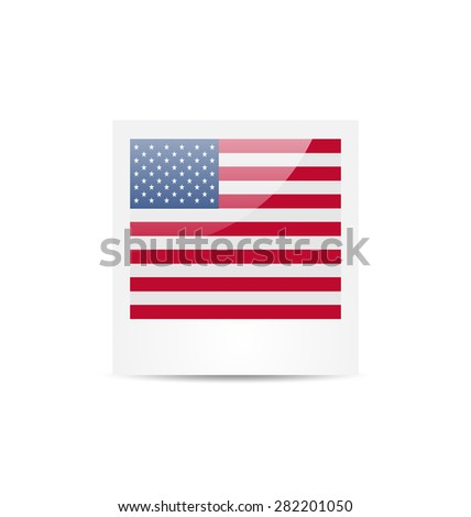 Illustration photo frame in US national colors for Independence Day, isolated on white background - raster - stock photo