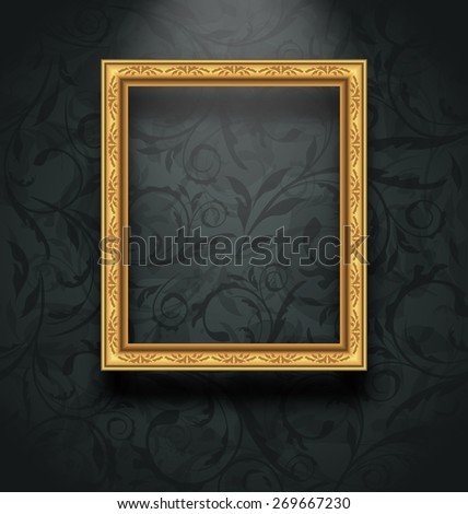 Illustration picture frame on floral texture wall - raster - stock photo