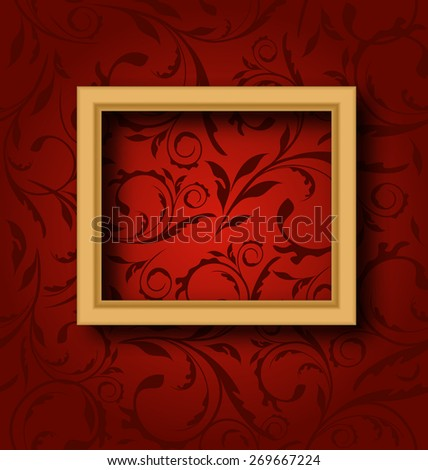 Illustration picture wooden frame on vintage wall - raster - stock photo