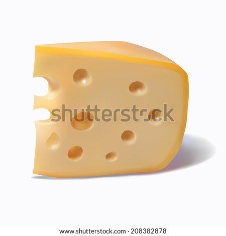 illustration  piece of cheese Isolated on white background - stock photo