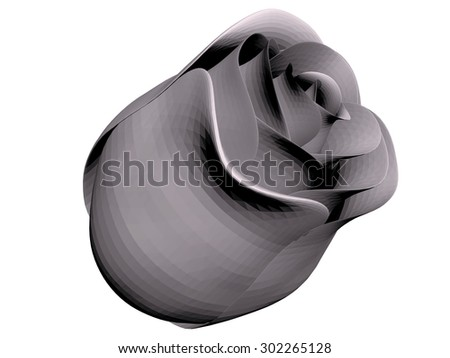 Illustration polygonal rose. Isolated. 3D.