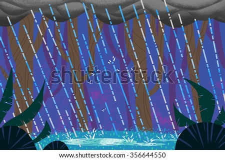 Illustration: Rainy Night in the Forest. Realistic Fantastic Cartoon Style Artwork Scene, Wallpaper, Story Background, Card Design  - stock photo