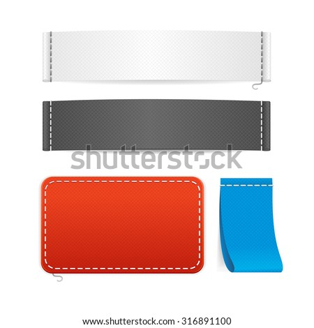 illustration realistic fabric clothing labels set. Ready template for your text and design - stock photo