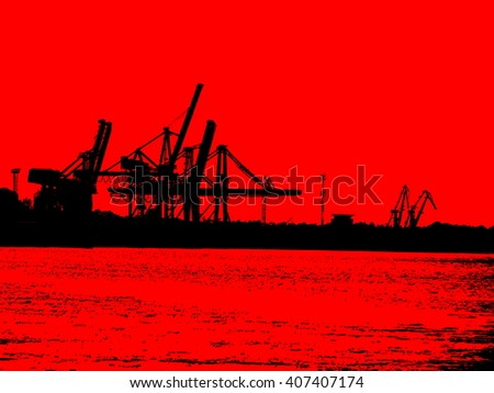 illustration  red black harbour  - stock photo