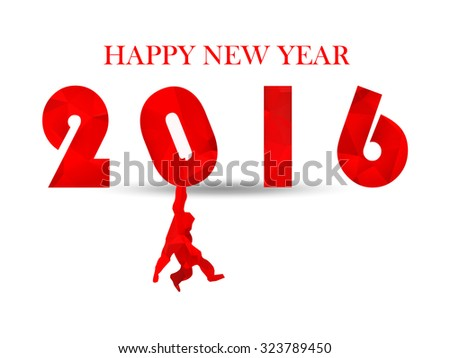 Illustration red 2016 on light bright white background. shadows. Happy new year design business concept. Red triangle numbers, hanging monkey silhouette blessing text