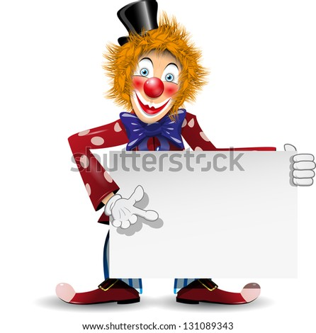 illustration redheaded cheerful clown with a white placard