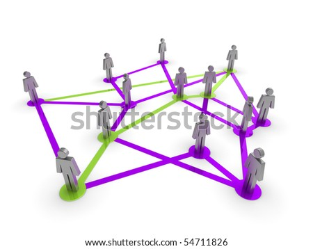 Illustration representing a network of connected people on a white background
