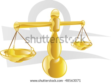 Illustration representing Libra the scales star or birth sign. Includes the symbol or icon in the background - stock photo