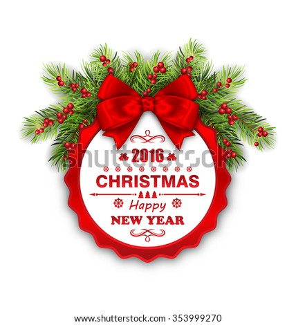 Illustration Round Banner with Red Ribbon and Bow for Happy New Year 2016 and Merry Christmas. Greeting Card Template - raster - stock photo