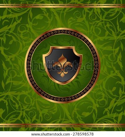 Illustration royal golden frame with medallion and fleur de lis for design packing - raster - stock photo