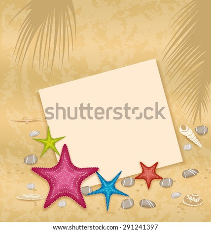 Illustration sand background with paper card, starfishes, pebble stones, seashells - raster