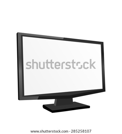 Illustration screen monitor isolated on white background - raster
