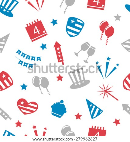 Illustration Seamless Pattern for Independence Day of America, Flat Icons in US National Colors - raster