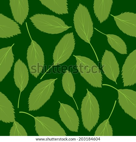 illustration seamless pattern green leaves on green background - stock photo