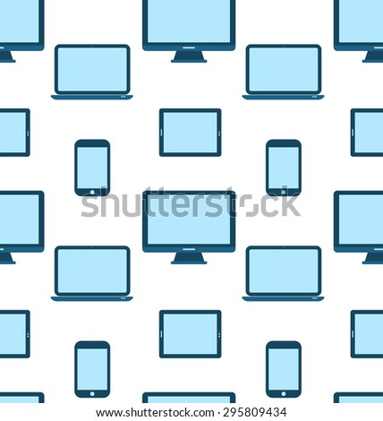 Illustration Seamless Pattern of Monitors, Laptops, Tablet Computers, Mobile Phones - raster - stock photo