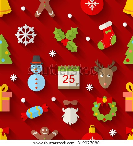 Illustration Seamless Pattern with Christmas Colorful Objects and Elements with Long Shadows - raster - stock photo