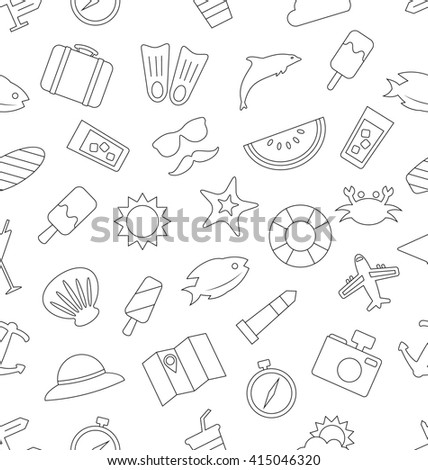 Illustration Seamless Pattern with Tourism and Holiday Objects and Icons. Summer Texture, Outline Style - raster