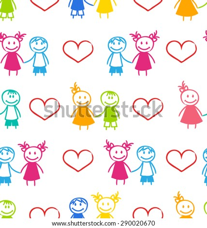 Illustration Seamless Romantic Wallpaper with Couple of Colorful Kids - raster - stock photo