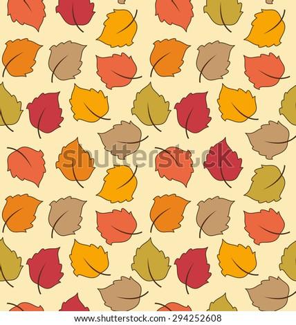 Illustration Seamless Texture of Autumn Leaves, Bright Background - raster - stock photo