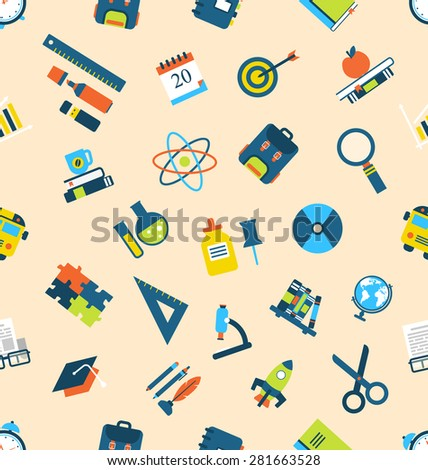 Illustration Seamless Texture with of Education Icons - raster - stock photo