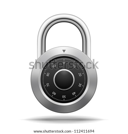 Illustration Security Padlock. Chrome steel with dial isolated on white