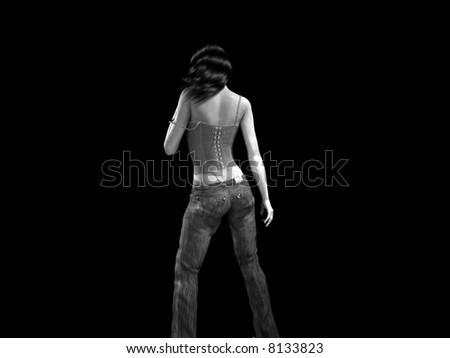 Illustration. Sensual woman in jeans and corset