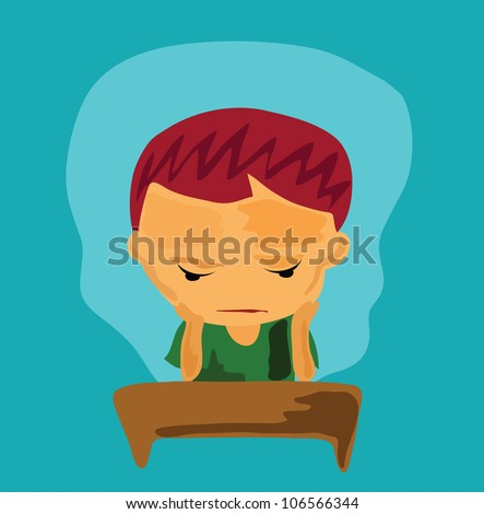Illustration - Serious boy.He serious about his problem. - stock photo