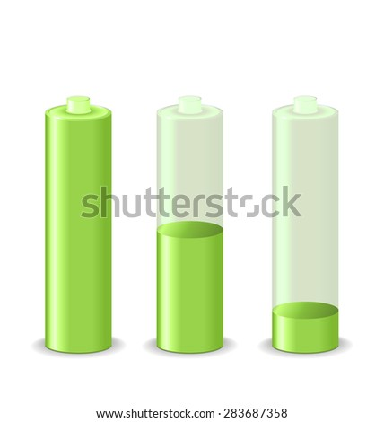 Illustration set battery charge status, isolated on white background - raster - stock photo