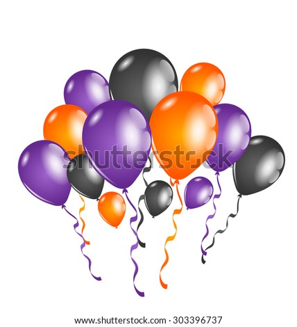 Illustration set colorful balloons for Halloween party - raster