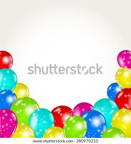 Illustration set colorful balloons for happy birthday - raster - stock photo