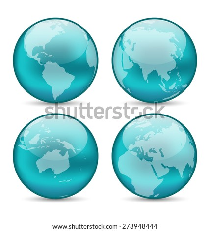 Illustration set globes showing earth with continents - raster - stock photo
