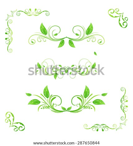 Illustration set green floral elements with eco leaves isolated (2) - raster - stock photo