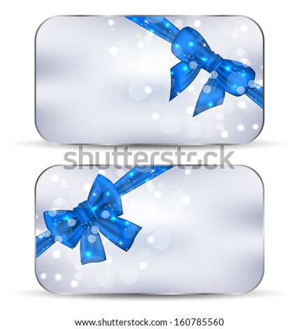 Illustration set labels with blue gift bows isolated - raster - stock photo
