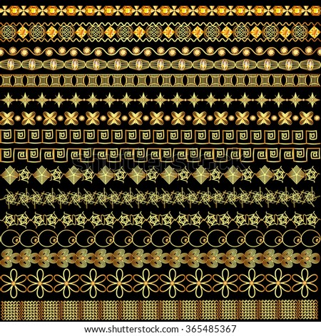 Illustration set of borders ornament of gold and  precious stones