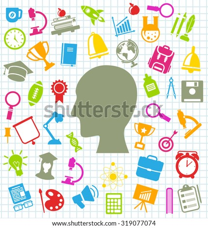 Illustration Set of Education Flat Colorful Simple Icons on School Grid Paper Sheet - raster - stock photo