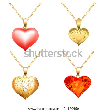 illustration set of pendants with precious stones in the form of heart - stock photo