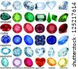 illustration set of precious stones of different cuts and colors - stock photo