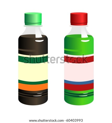 Illustration set of two bottle with label isolated on white background - raster - stock photo