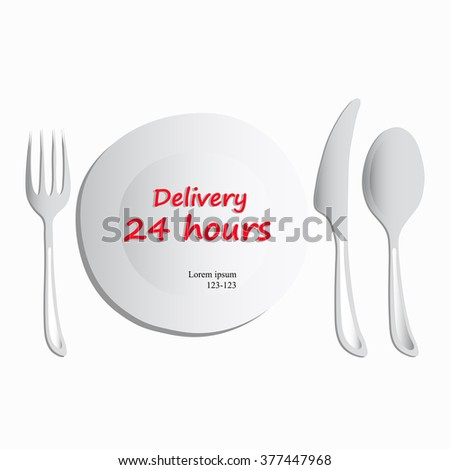 Illustration, set of utensils consisting of a plate, spoon,fork and knife on a white background. Food 24 hours delivery isometric concept Food delivery service.Freehand drawing. For restaurants, cafes - stock photo