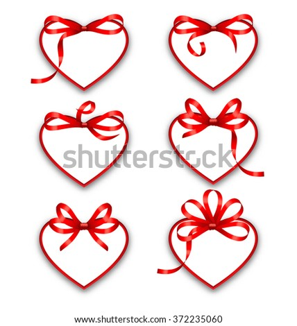Illustration Set Paper Cards in Form Hearts with Red Bows for Happy Valentines Day, Isolated on White Background. Template for Stickers, Tags, Coupons of Sales - raster - stock photo