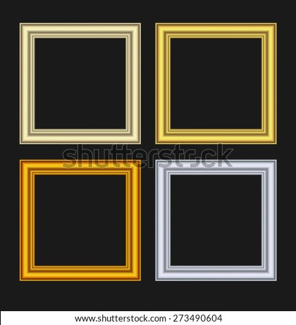 Illustration set picture frames isolated on black background - raster - stock photo