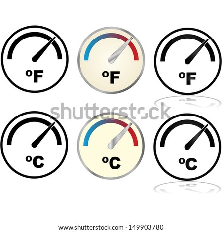 Illustration set showing icons for temperature displays in Fahrenheit and Celsius - stock photo