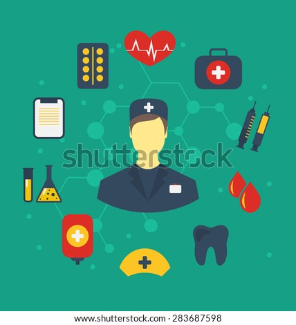 Illustration set trendy flat medical icons - raster