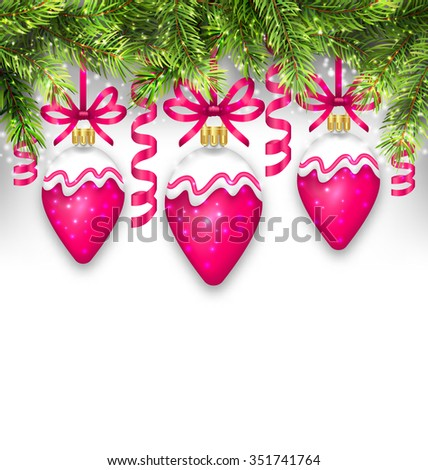 Illustration Shimmering Light Wallpaper with Fir Branches and Christmas Pink Balls for Happy Winter Holidays - raster - stock photo