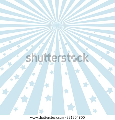 Illustration shiny sunbeams. Bright sunbeams on blue background. Abstract bright background - stock photo