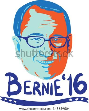 "Illustration showing head of Bernard ""Bernie"" Sanders, American Senator, elected politician and Democrat presidential candidate words Bernie 2016 done in retro style.  - stock photo"