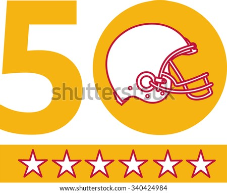 Illustration showing number 50 with American football helmet side view with five stars for the SF Bay Area or San Francisco Bay area pro football championship set on isolated white background.  - stock photo