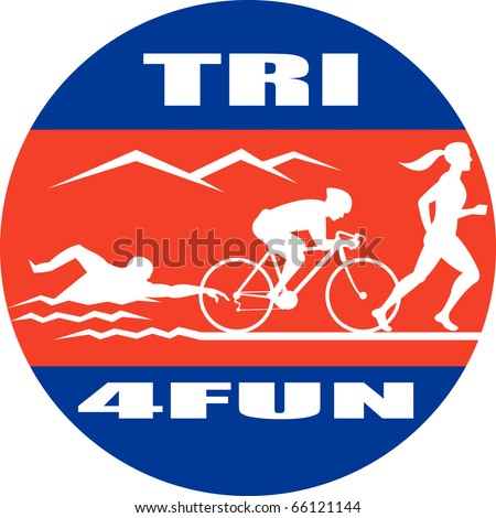 illustration showing the progression of triathlon showing an athlete swimming, biking or cycling and finishing of with  a run.